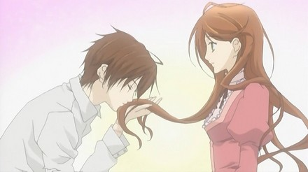 He turns on the charm calling her a pretty lady with caramel colored hair as he takes it into his hand and kisses it!