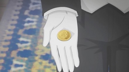 Following on from the last episode, Edgar wishes to discuss things before the other ship catches up with them.  He produces a small coin and hands it to Lydia.  The coin has the Earl's seal upon it and some very tiny writing on the other side, which is supposedly fairy script.
