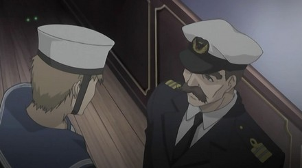Outside the room, the crewmembers continue to discuss the situation.  Lowen is apologizing to the Lt Commander, saying that he thought they would know for sure if they had the criminal once they found his most notable attribute.    The Lt Commander is not amused however and asks Lowen if he planned to order the Lord to stick out his tongue. He states that it would have been pointless in any case, since the criminal with a cross tattooed on his tongue was the murderer executed in America.  Lowen wonders if the executed man really was the murderer larcenist Sir John, since that man was known to be a charismatic noble and the corpse didn't fit that description.    Unbeknownst to the crewmembers Nico has heard the entire conversation, not that they'd think much of a cat listening in right. ;)