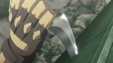 Gunnm had a better knife :P Here we see a reverse situation with much more bloody end...